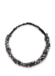 Maison Michel Faux Pearl Bead Twist Chain Elastic Headband Metallic