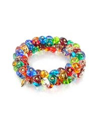 Antica Murrina Veneziana Rubik Murano Glass Drops Stretch Bracelet Multicolor