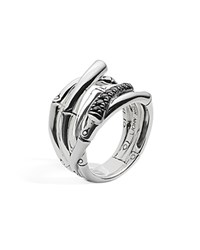John Hardy Sterling Silver Bamboo Ring With Black Sapphire Black Silver