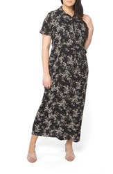 Evans Plus Size Women's Floral Maxi Shirtdress Dark Multi