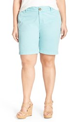 Plus Size Women's Sejour 'Addison' Stretch Twill Bermuda Shorts Blue Merchant