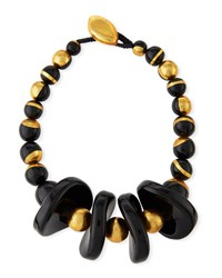 Viktoria Hayman Murano Resin Collar Necklace Black Gold