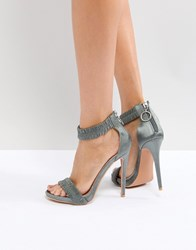 Lost Ink Grey Ruched Heeled Sandals Light Grey