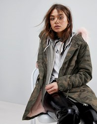 Only Camo Parka With Faux Fur Lining Green