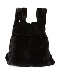The Row Mink Fur Knapsack Bag Black