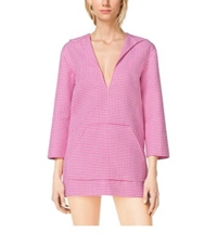 Michael Kors Gingham Hooded Wool Tunic Geranium