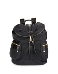 Calvin Klein Faux Leather Trimmed Nylon Backpack Black Gold