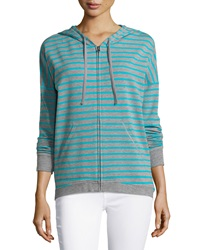 Neiman Marcus Striped Zip Front Hooded Jacket Heather Gray Aqua