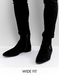 Asos Wide Fit Chelsea Boots In Black Suede With Strap Buckle Detail Black