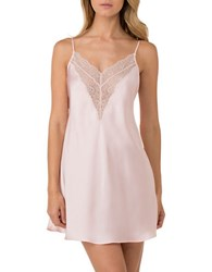 H Halston Satin And Lace Chemise Pink