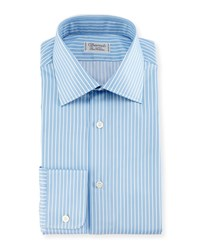 Charvet Two Tone Striped Dress Shirt Blue White