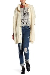Wildfox Couture Cable Knit Hooded Cardigan Beige