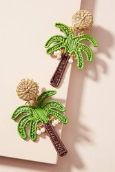 Mercedes Salazar Woven Palm Tree Drop Earrings Green