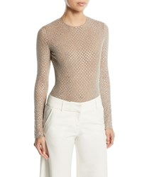 Michael Kors Long Sleeve Embellished Stretch Tulle Bodysuit Silver