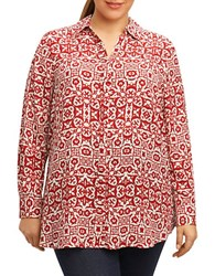 Foxcroft Plus Long Sleeve Printed Shirt Ruby Red
