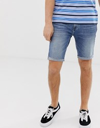 Hollister Skinny Fit Denim Shorts In Medium Wash Blue