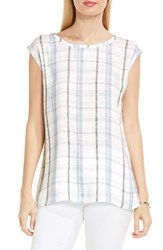 Vince Camuto Women's Two By Plaid Pathway Split Back Blouse