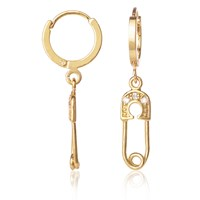 C.J.M Safety Pin Earrings Gold