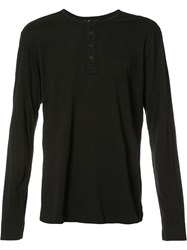 Paige Half Button T Shirt Black