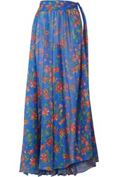 Caroline Constas Hera Printed Cotton And Silk Blend Voile Maxi Skirt Bright Blue