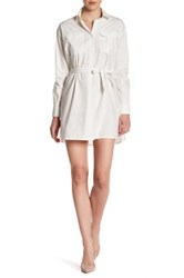 French Connection Long Sleeve Shirt Dress White