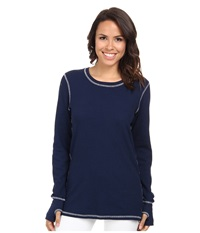 Allen Allen L S Thumbhole Tee Thermal Crew Lapis Women's Long Sleeve Pullover Navy