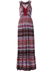Saloni Striped Dress Red