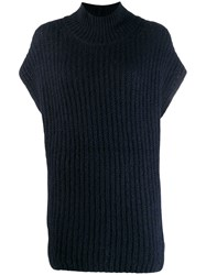 Closed Roll Neck Knitted Vest Blue