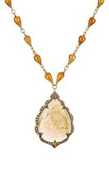 Cathy Waterman Women's Brown Sapphire Arabesque Pendant On Beaded Neck Colorless