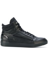 Fabi Hi Top Trainers Calf Leather Sheep Skin Shearling Rubber Black