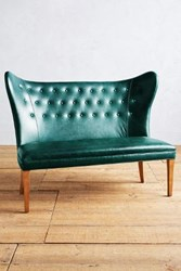 Anthropologie Premium Leather Wingback Bench Armless Mountain Spring