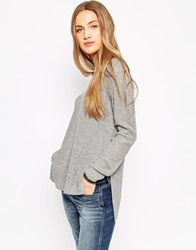 Asos Ultimate Chunky Jumper With V Neck And Side Splits Greymarl