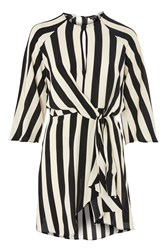 Topshop Petite Stripe Knot Front Dress Monochrome