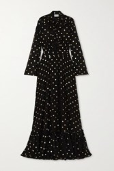 Redemption Pussy Bow Ruffled Metallic Polka Dot Chiffon Gown Black