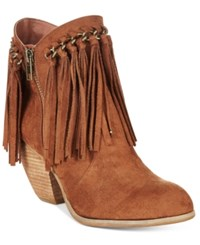 Naughty Monkey Not Rated Aadila Block Heel Fringe Ankle Booties Women's Shoes Tan