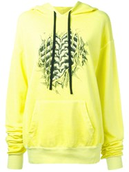Unravel Project Bones Print Hoodie Women Cotton Spandex Elastane S Yellow Orange