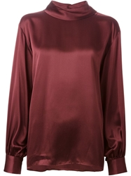 Yves Saint Laurent Vintage Funnel Neck Blouse Red