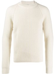 Saint Laurent Ribbed Crewneck Jumper Neutrals