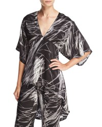 High Low Printed Kimono Top Black Reflection