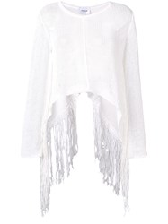 Dondup Fringed Trapeze Sweater White
