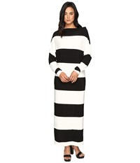 Norma Kamali All In One Gown 6 Inch Ivy Black Stripe Women's Dress
