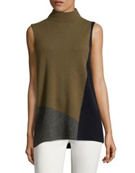 Lafayette 148 New York Felted Cashmere Colorblock Sweater Sequoia