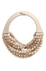 Fairchild Baldwin Women's Multirow Beaded Collar Necklace Iridescent Mushroom Pink