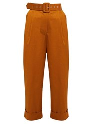Isa Arfen High Rise Cotton Blend Trousers Tan