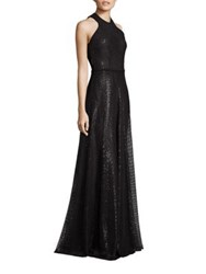 Carmen Marc Valvo Embroidered Sequin Halter Gown Black