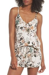 Lacausa Floral Poppy Short And Camisole Pajamas Cream Dusk