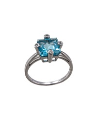Bliss By Damiani Square 2.11 Blue Topaz And Diamond Ring Size 7