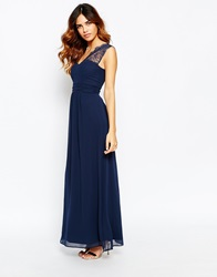Elise Ryan Lace One Shoulder Maxi Dress Navy