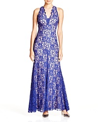Aqua Sleeveless V Neck Lace Gown Sapphire Nude
