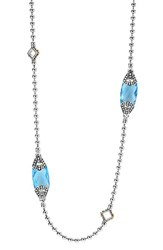 Lagos Women's 'Caviar Color' Long Semiprecious Stone Station Necklace Blue Topaz